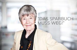 Beate Sander, aktienmillionär sander, Grand Lady der Börse, Das Sparbuch muss weg, Börsen-Oma