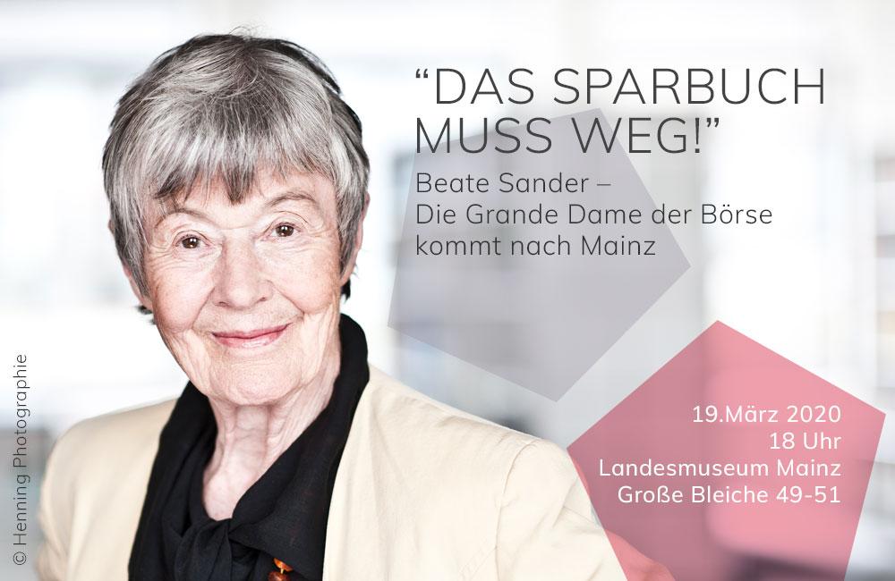 Beate Sander - Die Grande Dame der Börse kommt nach Mainz