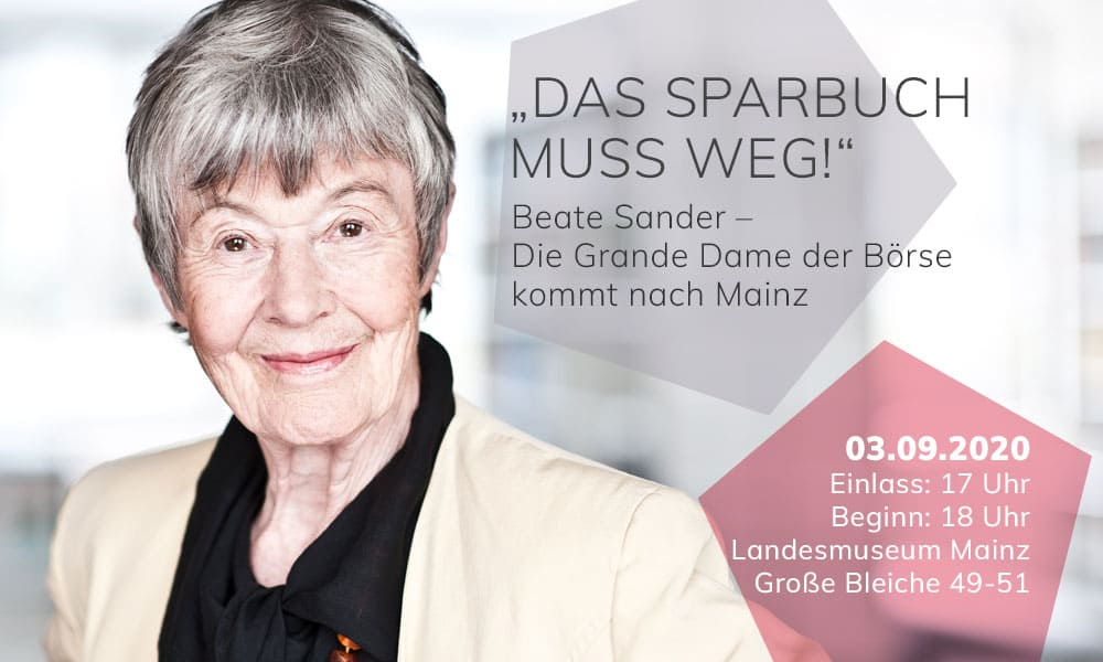 Beate Sander, Börsenoma, Grande Dame der Börse, in Mainz am 3. Spetember